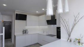 White kitchen interior stock video footage
