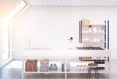 White kitchen interior, toned. Interior of an attic kitchen with white walls, a cooker, a sink and a cupboard with dishes and cutting boards. 3d rendering, mock Stock Image
