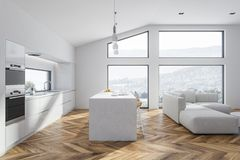 White kitchen and living room interior royalty free illustration