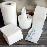 White kitchen paper towel, toilet paper, paper tissue on a dark wooden table Stock Images