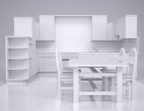 White kitchen. Render in the studio on a gray background Stock Image
