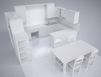 White kitchen. Render in the studio on a gray background Royalty Free Stock Images