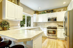 White kitchen room with window Royalty Free Stock Photography