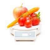 White Kitchen Scale With Fruit And Veggies Stock Photos