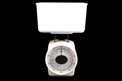 White Kitchen Scale Isolated on Black Background Stock Image