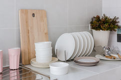 White kitchen with utensil at home Royalty Free Stock Photos