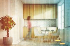 White kitchen, wood countertops front, girl. White kitchen interior with a concrete floor, a poster, wooden countertops and cabinets and a tree in a pot. Front Royalty Free Stock Photography