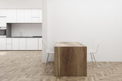 White kitchen wooden table Stock Images
