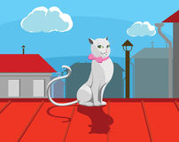 White Kitty. White cat with pink bow sits on roof Stock Illustration