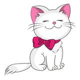 White kitty. With pink bow Stock Photography