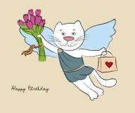 White kitty happy birthday Stock Photos