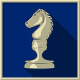 White knight. Chess. White knight on a blue background Stock Photography