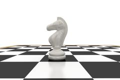 White knight on chess board Royalty Free Stock Photos