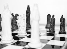 White knight chess in monochrome. Black and white chess game selective focus on the white knight stock photos