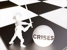 White Knight and Crises Concept In 3D. White Knight and Crises Concept on Chessboard In 3D royalty free illustration