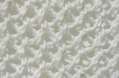 White knit material - up close abstract background Stock Photo