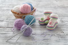 White knitted booties. Small children`s socks, greeeting card Royalty Free Stock Photography