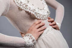 White knitted dress Stock Photos