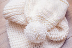 White knitted hat and scarf Stock Photo