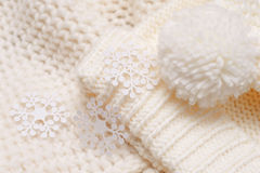 White knitted hat and scarf Royalty Free Stock Photography