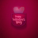 White knitted heart in pink pocket Royalty Free Stock Images