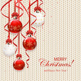 White knitted pattern with Christmas balls Stock Image