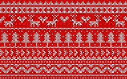 Christmas knit pattern vector design on red background. White knitted on red background Christmas knit pattern. vector design for Christmas day Stock Images
