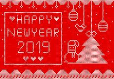 Knitted Happy new year on red background design. White knitted  on red background design for new year 2019 royalty free illustration