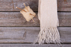 White knitted scarf with fringe. Stock Images