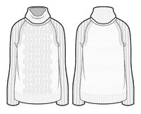 White knitted sweater. Front and back view of knitted sweater royalty free illustration