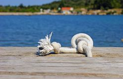 White Knot rope royalty free stock image