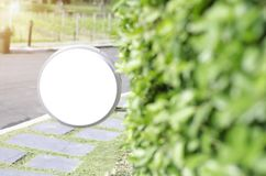 White label in the morning garden. royalty free stock image