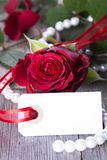 White Label with Red Rose Stock Images