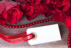 White Label with Red Roses Stock Images