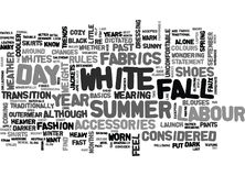 White After Labour Day Statement Or Faux Paus Word Cloud Stock Photos