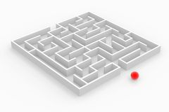 White labyrinth. And red sphere stock illustration