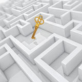 White labyrinth, problem solved, golden key in center of abstract maze Stock Image