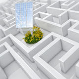 White labyrinth, problem solved, solar panel with grass and flowers in abstract maze Royalty Free Stock Photography