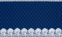 White lace on background blue guipure Stock Photo