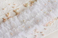 White lace with beads Royalty Free Stock Images