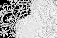 White lace on black background Royalty Free Stock Photography