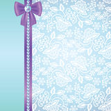 White lace on blue background Stock Photo