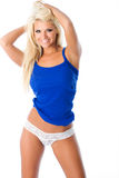 White lace and blue tank Royalty Free Stock Image