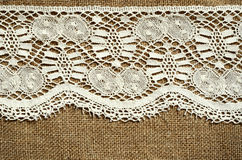 White lace on canvas Stock Photo