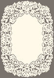 White Lace Card. Silhouette beige Background Stock Photography