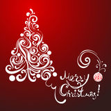 White lace christmas tree on red background Royalty Free Stock Photos