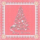 White lace christmas tree on seamless background. Stock Images