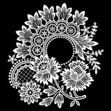 White Lace. Clip Art. Black Background Royalty Free Stock Photos