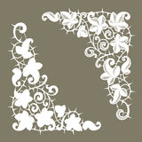 White Lace Corners. Thorns. Silhouette. Royalty Free Stock Photography