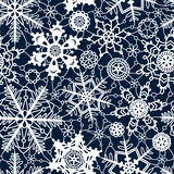 White lace crochet snowflakes seamless pattern on navy blue, vector Stock Images